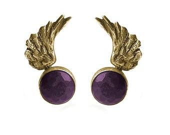 Amethyst Angel Wings Earrings