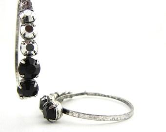 Pair of Teardrop Black and Hematite Acrylic Rhinestones Charms Antique Silver-tone