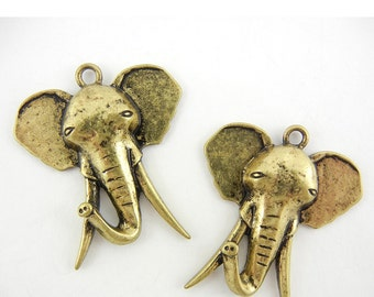 Pair of Antique Gold-tone Elephant Head with Long Tusks Charms