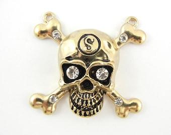 Double Link Skull and Cross Bones Charm Pendant Antique Gold-tone
