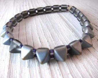 STUDS Stretch Bracelet, Silver Blue Spikes