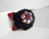 Red And Black Vintage Zipper Brooch With Vintage Crystal Arora Borealis Center Handmade by handcraftusa Etsy