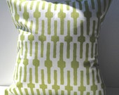 New 18x18 inch Designer Handmade Pillow Case in green and white geometric
