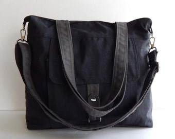 Sale - Water-Resistant Bag in black- messenger bag, tote, shoulder bag, laptop, purse, everyday bag, handbag, diaper bag - AIMEE