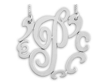 Lace Initial Necklace - sterling silver - choose from 2 styles