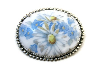 Vintage Brooch 70s Oval Blue Floral Silver tone setting
