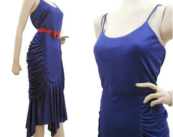 Vintage 80s Dress Ruched Purple Jersey Disco Fishtail Mermaid S M