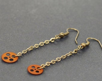 Steampunk Jewelry- Upcycled Brown Clock Gear and Brass Chain Earrings
