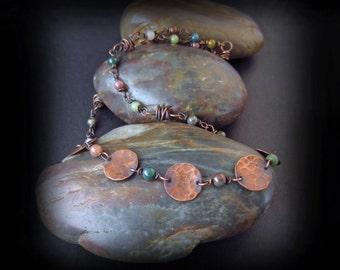 Wire Wrapped Jasper and Copper Necklace - Wire Wrapped Jewelry Handmade - Hammered Copper Necklace - Antiqued Copper Artisan Clasp - MAGGIE