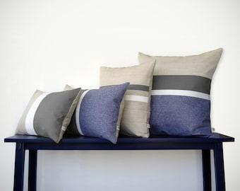 Gray & Chambray Striped Colorblock Pillow Cover Set of 4 - Modern Home Decor by JillianReneDecor - Decorative Throw Pillows