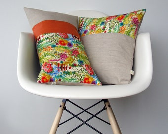 Bright Floral Decorative Pillow Set of 2 | Tresco Liberty Print | Watercolor Flowers | Spring Home Decor by JillianReneDecor | Orange
