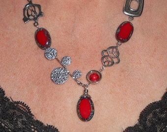 Statement necklace, red necklace, boho necklace, silver link asymmetric necklace, designer jewelry, asymmetric jewelry, boho jewelry