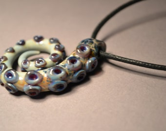 Spotted Octopus Tentacle Pendant on Cord or Chain