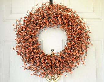 Orange Berry Wreath for Fall  Fall  wreath  Orange Autumn door decor Thanksgiving door decor