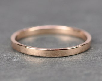 14K Rose Gold 2mm Ring, Smooth Polished Band, Recyled Gold, Sea Babe Jewelry