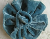 TEAL Velvet Ribbon Rose Fabric Sequin Beaded Flower Applique Hat Pin Baby Pageant Bridal Hair Accessory Applique