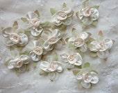 12pc Fabric IVORY CREAM w Leaf Satin Organza Ribbon Flower Applique Baby Doll
