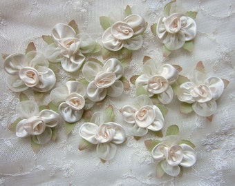 12pc Fabric IVORY CREAM w Leaf Satin Organza Ribbon Flower Applique Baby Doll