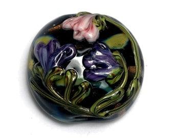 Light Pink w/Purple Floral Lentil Focal Bead - Handmade Glass Lampwork Beads 11814802