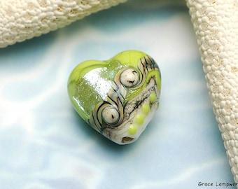 Lime Stardust Heart Focal Bead - Handmade Glass Lampwork Bead -11831705
