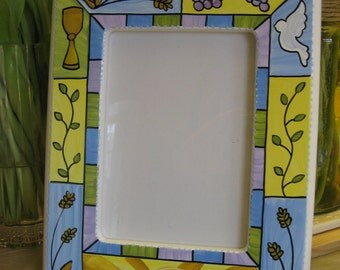 hand painted personalized first communion picture frame... will personalize