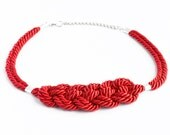 Shiny red knotted nautical rope adjustable statement necklace