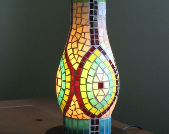 Stained Glass Mosaic Table Lamp in Tan-Brown-Lime-Aqua