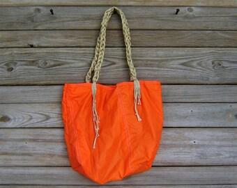 Orange Parachute Market Bag with Parachute Line Handles