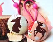 Button Ponytail Holder, Large Kawaii Cream Brown Pink Deer Rabbit Woodlands Animal Ponytail Holder Hair Ties