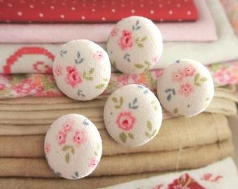 Handmade Tilda Cream Pink Rose Floral Flower Fabric Covered Buttons Floral Flower Fridge Magnets, Flat Backs, CHOOSE SIZE 5's