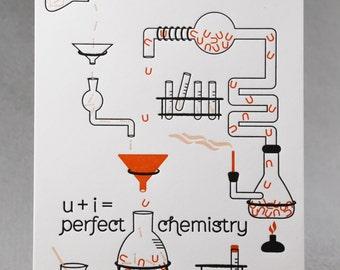 Letterpress Love Card, u+i=perfect chemistry