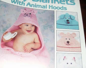 Baby Afghan Crocheting Patterns Baby Afghans with Animal Hoods Leisure Arts 2164 Crochet Pattern Leaflet Kay Meadors
