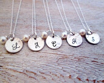 Personalized Bridesmaid Jewelry - Bridesmaid Necklaces - Set of 14 - Bridesmaid Initial Necklace - Initial Necklace