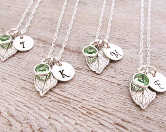 Bridesmaid Jewelry - Bridesmaid Necklaces - Set of 8 - Bridesmaid Initial Necklace - Leaf Necklaces