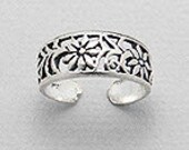 SALE Flower Adjustable Toe Ring - Sterling Silver