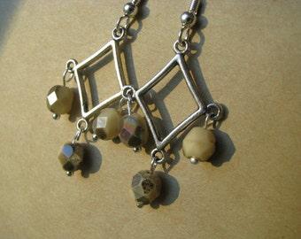 Ivory and Silver Chandelier Earrings, Beige Earrings, Chandelier Earrings