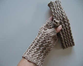 Beige Slate Texting Fingerless Gloves Cotton