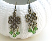 Celtic Knot Earrings, Green Earrings, Celtic Jewelry, Green Celtic Earrings, Boho Earrings, Earrings, Irish Jewelry,Trend Statement Earrings