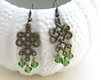 Celtic Knot Earrings, Green Earrings, Celtic Jewelry, Green Celtic Earrings, Boho Earrings, Earrings, Irish Jewelry,Trend Statement Earrings