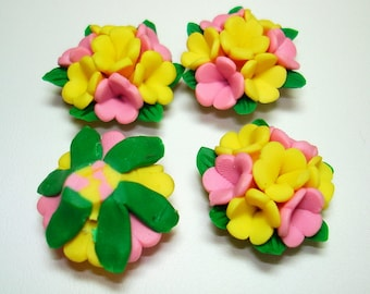 Yellow Pink Clay Flower Beads (Qty 4) - B2245