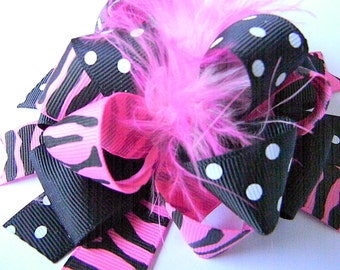 Zebra Hair bow Over the Top Bow