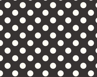Le Creme Medium Black Dots C630-110 - ivory dots on black -  from Riley Blake Fabrics 1/2 yard
