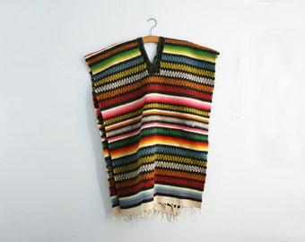vintage 70s Serape Mexican Woven Blanket Poncho with Fringe
