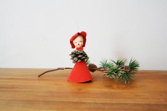 vintage 50s Singing Carols Pinecone Girl Christmas Ornament Made in Japan