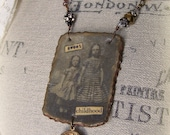 Handmade Vintage Assemblage Necklace Wire Wrapped Gypsy Necklace Antique  Childhood Romantic  Altered Jewelry Vintage Altered Necklace
