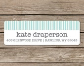 Custom Return Address Labels - Self Adhesive Stickers - Aqua Stripes