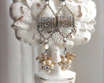 RESERVED Blooming Barrels-Antique Vintage Pearl Flower and Victorian Stamped Barrel Bead Assemblage Earrings