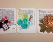 Handmade Trio of Project Life Scrapbooking 3x4 Card Inserts