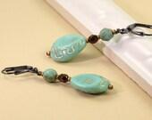 Seafoam Green Earrings Gold Etching Sea Green Jewelry Gold Dangle Earrings Wedding Jewelry Prom Earrings Bridal Fashion Gunmetal Earrings