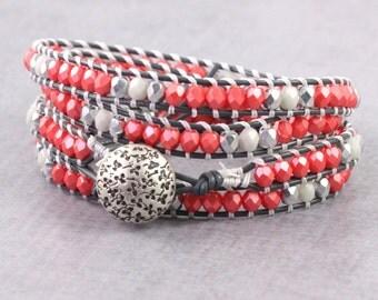Boho Wrap Bracelet Gray Leather Wrap Silver Wrap Bracelet Bohemian Jewelry 4x Wrap Pink Coral Beaded Bracelet Summer Fashion Skinny Bracelet